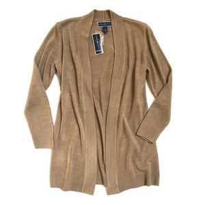 Tan open front cardigan sweater NWT